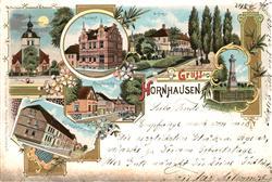 33137686 Hornhausen Postamt Schloss Kirche Kriegerdenkmal Mondschein Hornhausen