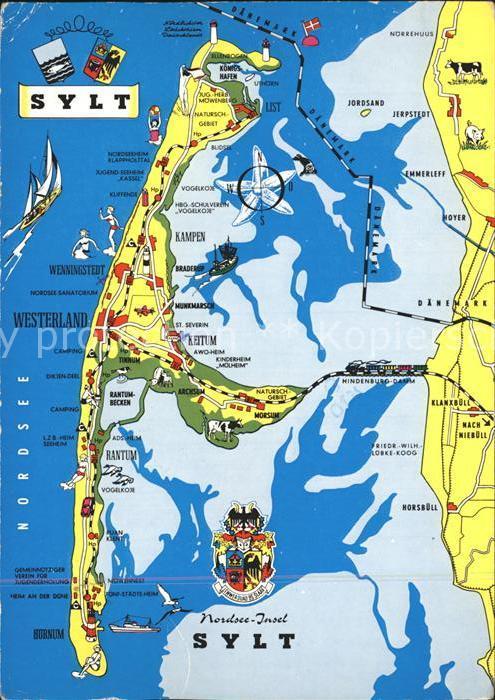 72231132 Insel Sylt Landkarte Westerland - 79576, Deutschland - Rücknahmen akzeptiert - 79576, Deutschland