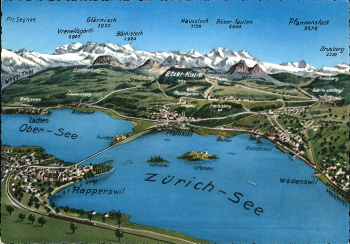 Möbelgeschäfte Zürich Und Umgebung ~ Details zu kk13896 Zuerichsee Panoramakarte mit Umgebung Kat Zuerich