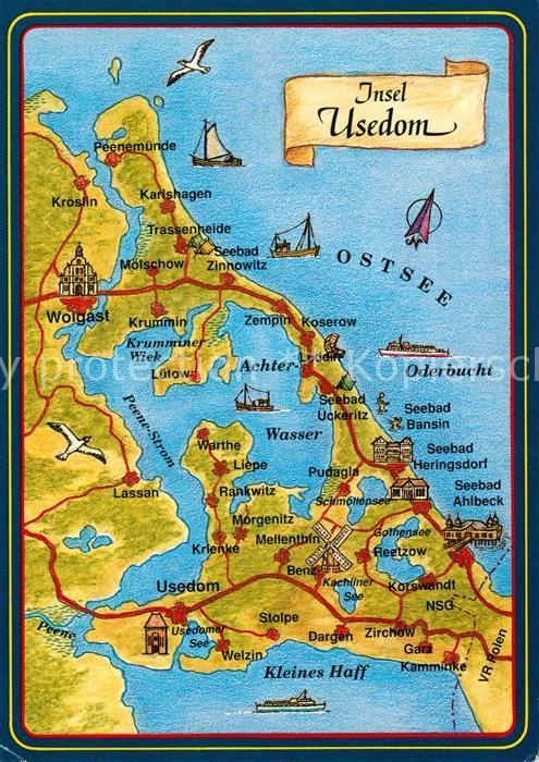 Usedom Karte Grenze.73073888 Insel Usedom Inselkarte Gellenthin Item Number 564232473