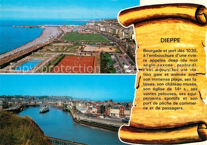 13253337 Dieppe_Seine-Maritime Fliegeraufnahme Hafen Strand Dieppe Seine-Maritim