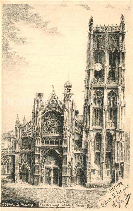 13558111 Dieppe_Seine-Maritime Eglise Saint Jacques Dessin Kuenstlerkarte Dieppe