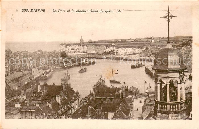 13640518 Dieppe_Seine-Maritime Le Port et le clocher Sant Jacques Dieppe Seine-M