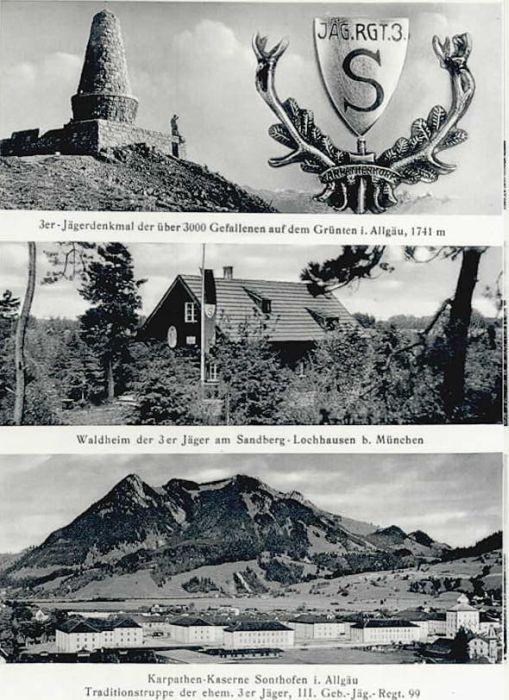 wd90601 Sonthofen Oberallgaeu Jaeger Denkmal Karpathen Kaserne Postkarten Ansichtskarten