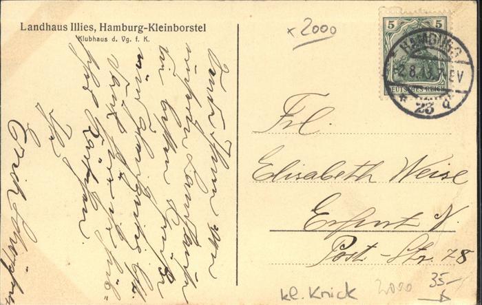 wx55989 Hamburg Kleinborstel Landhaus Illies Kat. Hamburg